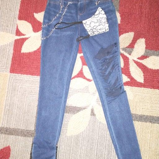 Skinny Jeans sz 0-2 CUSTOMIZED w/mask