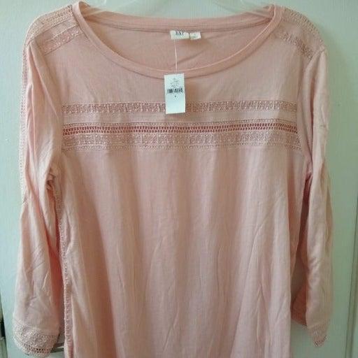 Gap pink long-sleeve top crochet details size S