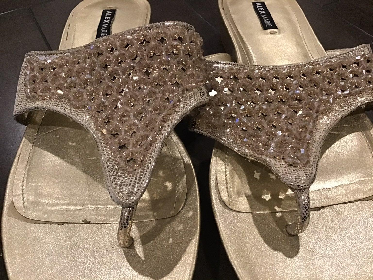 Alex Marie Gold Beaded Sandals