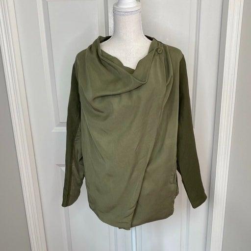 Blank NYC 2 Tone Olive Green Linen/Rayon/Lyocell Front Drape Jacket Small