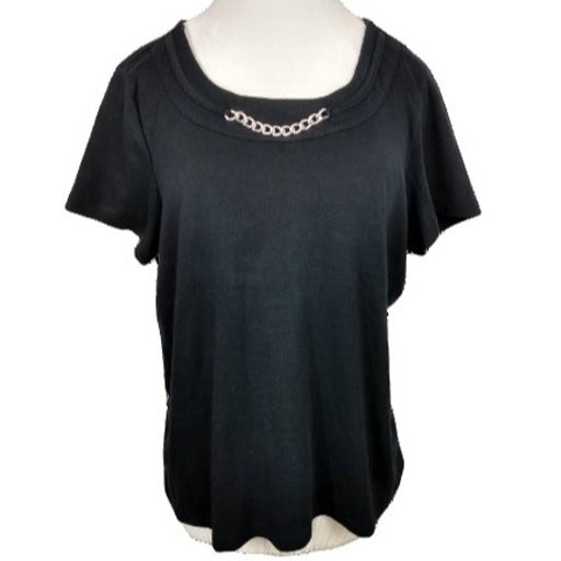 Karen Scott Short Sleeve Tee with Chain Detail Size L