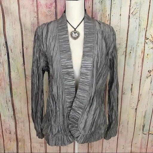Chico's Silver Crinkle Blazer Jacket