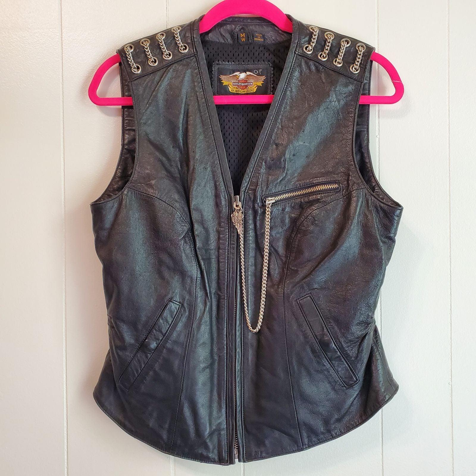 Harley-Davidson Black Leather Vest vinta