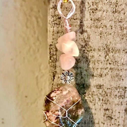 Pink Rhodonite Crystal Necklace