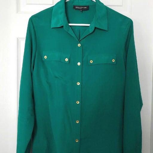 Women's Green Button Up Blouse
