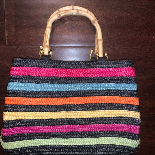 "Women's croft & barrow Woven purse- ""Bamboo handles"""