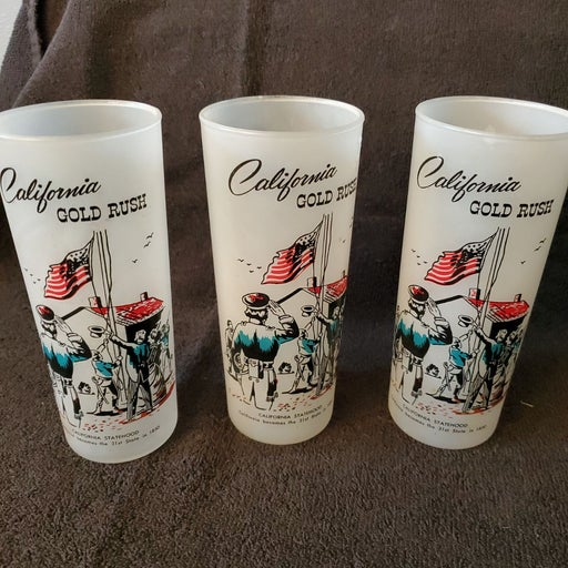 3 California Gold Rush Drinking Glasses