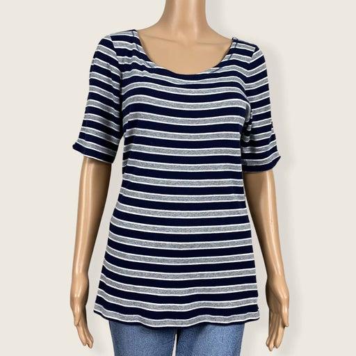 Gap Striped Super Soft Ballet Open Back Shirt T-shirt LARGE Navy Blue Gray White