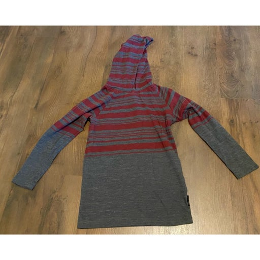 Ocean current striped hooded shirt 4/5 small