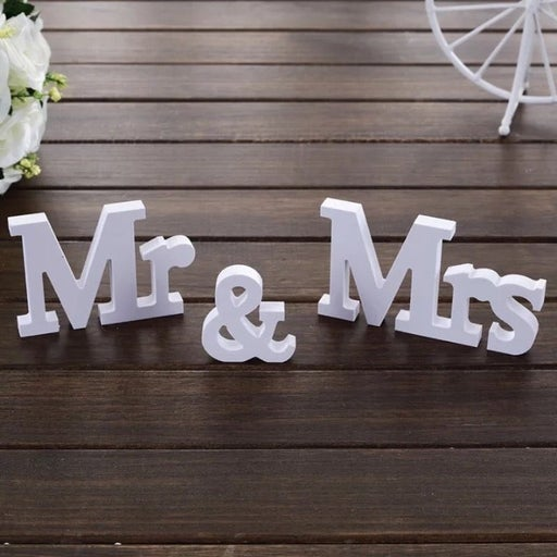 3pc Set of Wooden White Signs Mr and Mrs