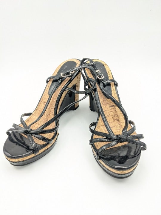 ANA Black Wedge Sandals