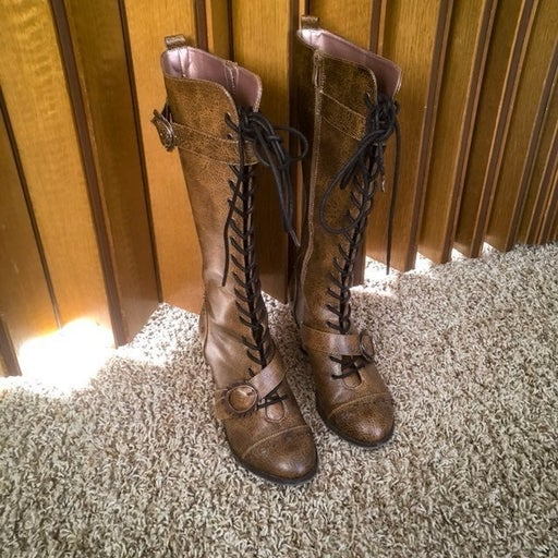 Hades Steampunk Brown Boots Size 8