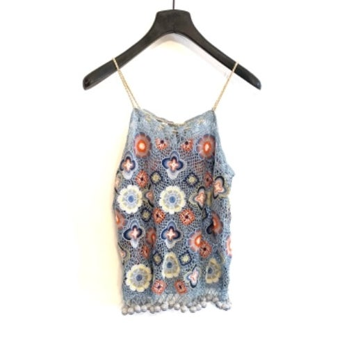 Calypso St. Barth - Colorful Floral Crochet Knit Tank Top - Size XS