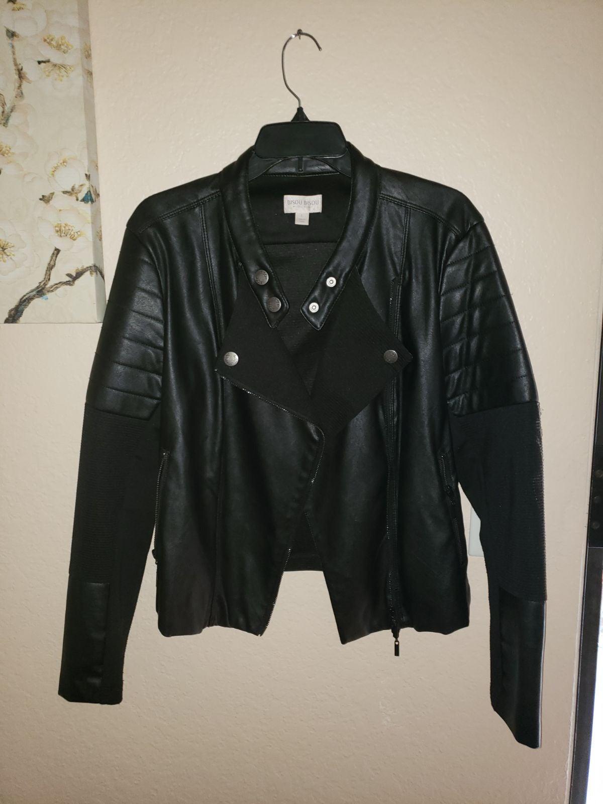 Bisou Bisou Moto Faux Leather Jacket