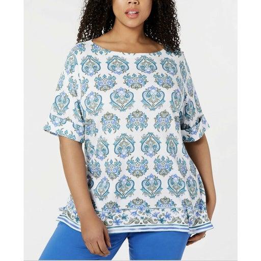 Karen Scott T-Shirt Blue Ikat 1X New