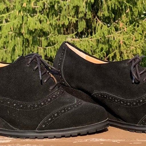 Ellen Tracy NEW Tobin Black Suede Wedge Oxford Wingtip Lace Up Shoe 8.5 M
