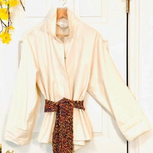 DKNYpure 100% Cotton Button Front Shirt Coat