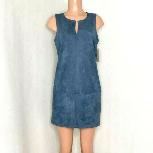 Boston Proper NWOT Dusty Blue Faux Suede Sleeveless Shift Dress Stretch