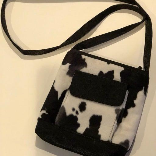Cowhide Look Black &White Lg Strap Purse