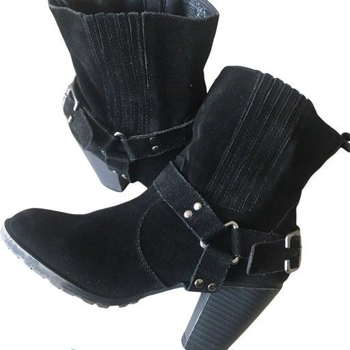 eddie bauer heel suede boots black size 8