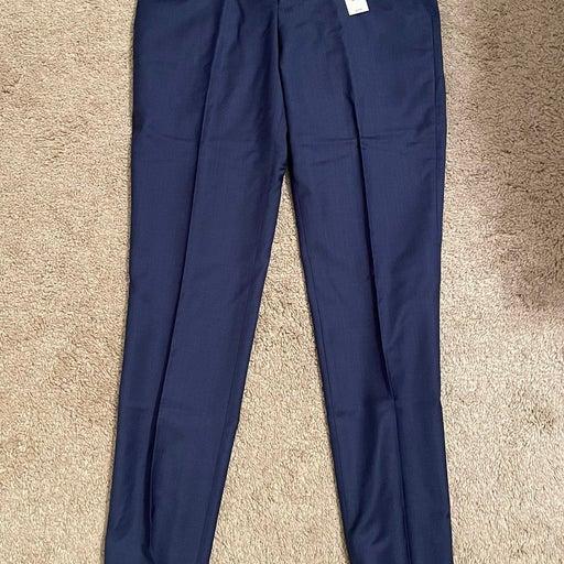 Express Slim Blue Wool-Blend Stretch Suit Pants