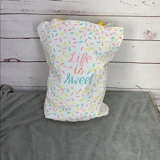 C R Gibson Life Is Sweet White Canvas tote
