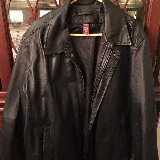 Mens Covington Black Leather Jacket XL