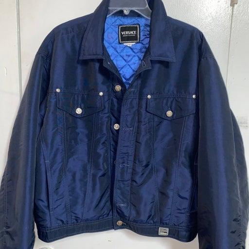 Versace Blue bomber jean jacket 90's
