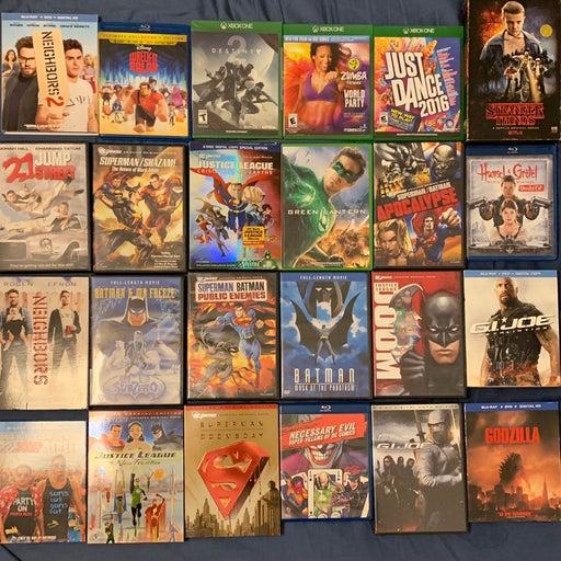 DVD, Bluray, Xbox Games Lot