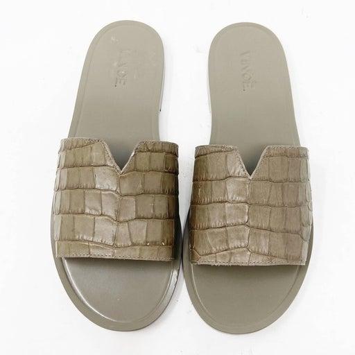 Vince Grey Croc-embossed Leather Slide Sandals