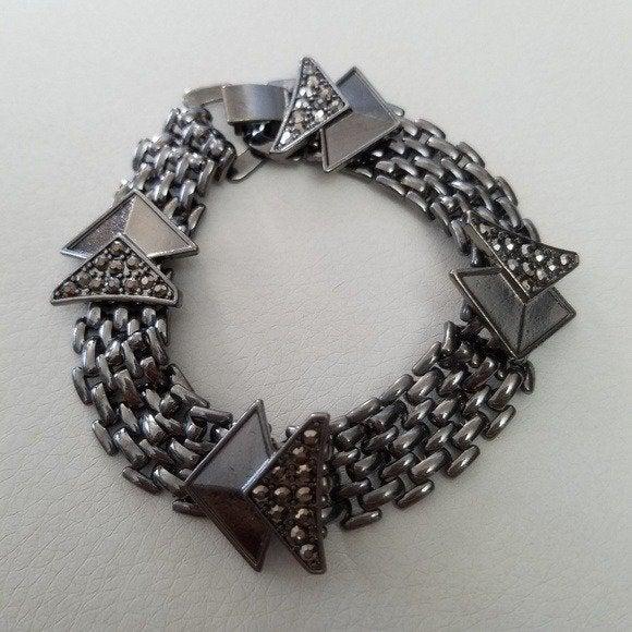 Link chain w/ Arrow Dark Silver Bracelet