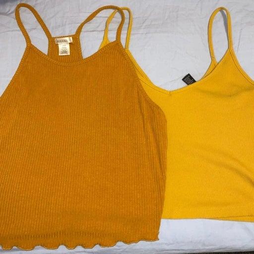 Yellow Crop tops