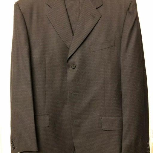 Canali Suit Size 42L Black Wool 3 Button
