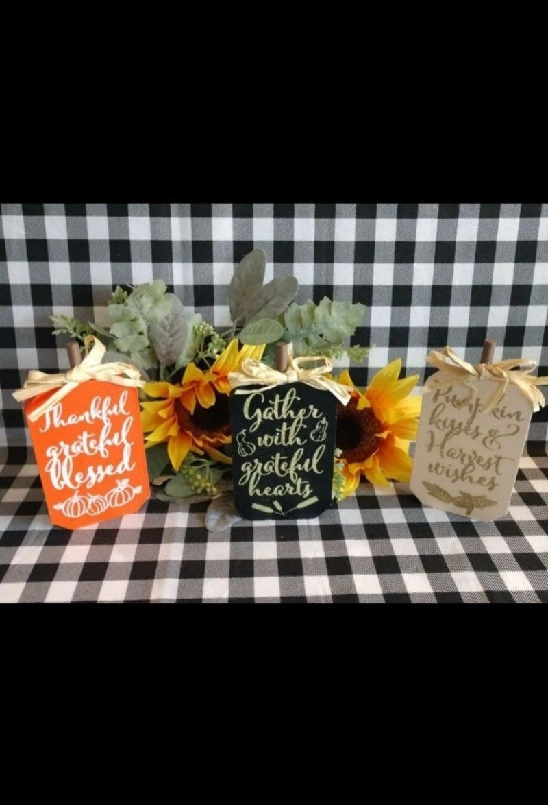 Farmhouse Wood Tiering Pumpkins