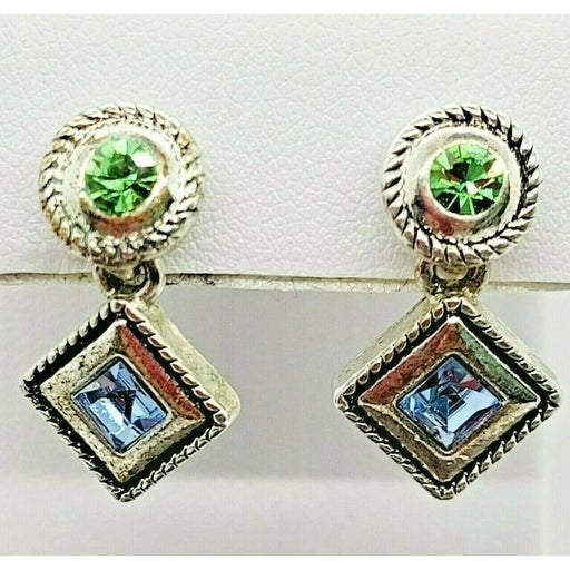 Premier Designs Argyle Drop Earrings Dangle Antiqued Silver Plated Crystals