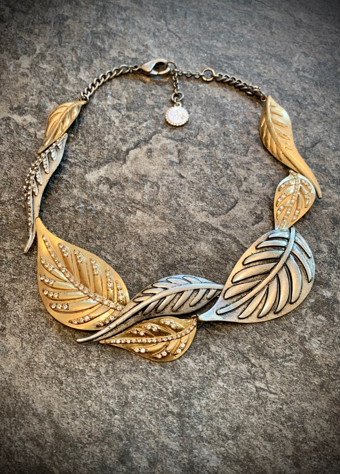 Two tone leaf statement necklace