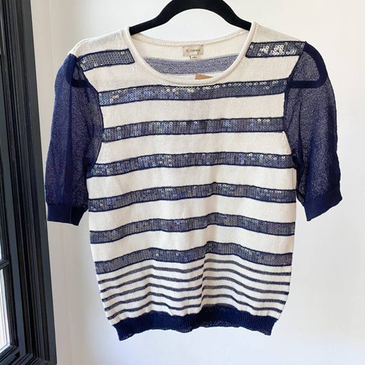 CREMIEUX Liz Sequin Striped Sweater sz S
