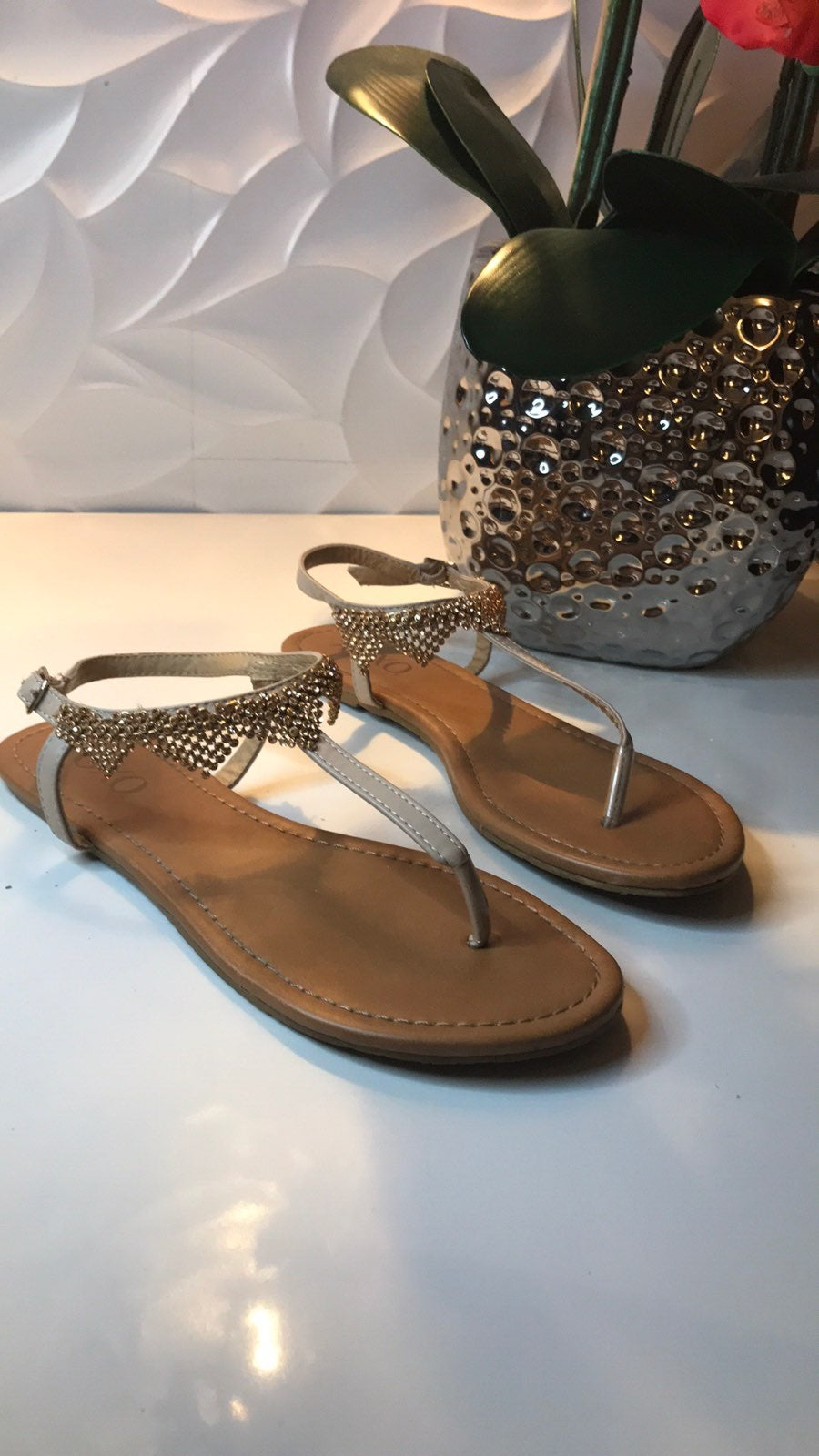Rose Gold Beaded Sandals Size 8