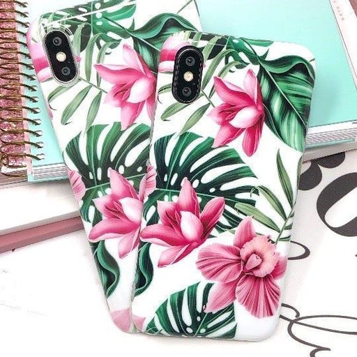 NEW iPhone XR Pink Floral Leaf Case