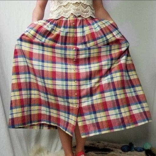 Vintage Eddie Bauer Rainbow Plaid Skirt