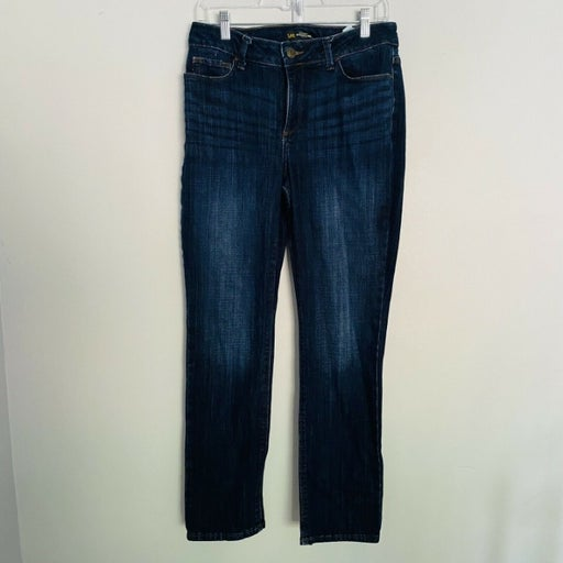 Lee Regular Fit Straight Leg Jeans Mid-Rise Secretly Shapes Womens Size 10