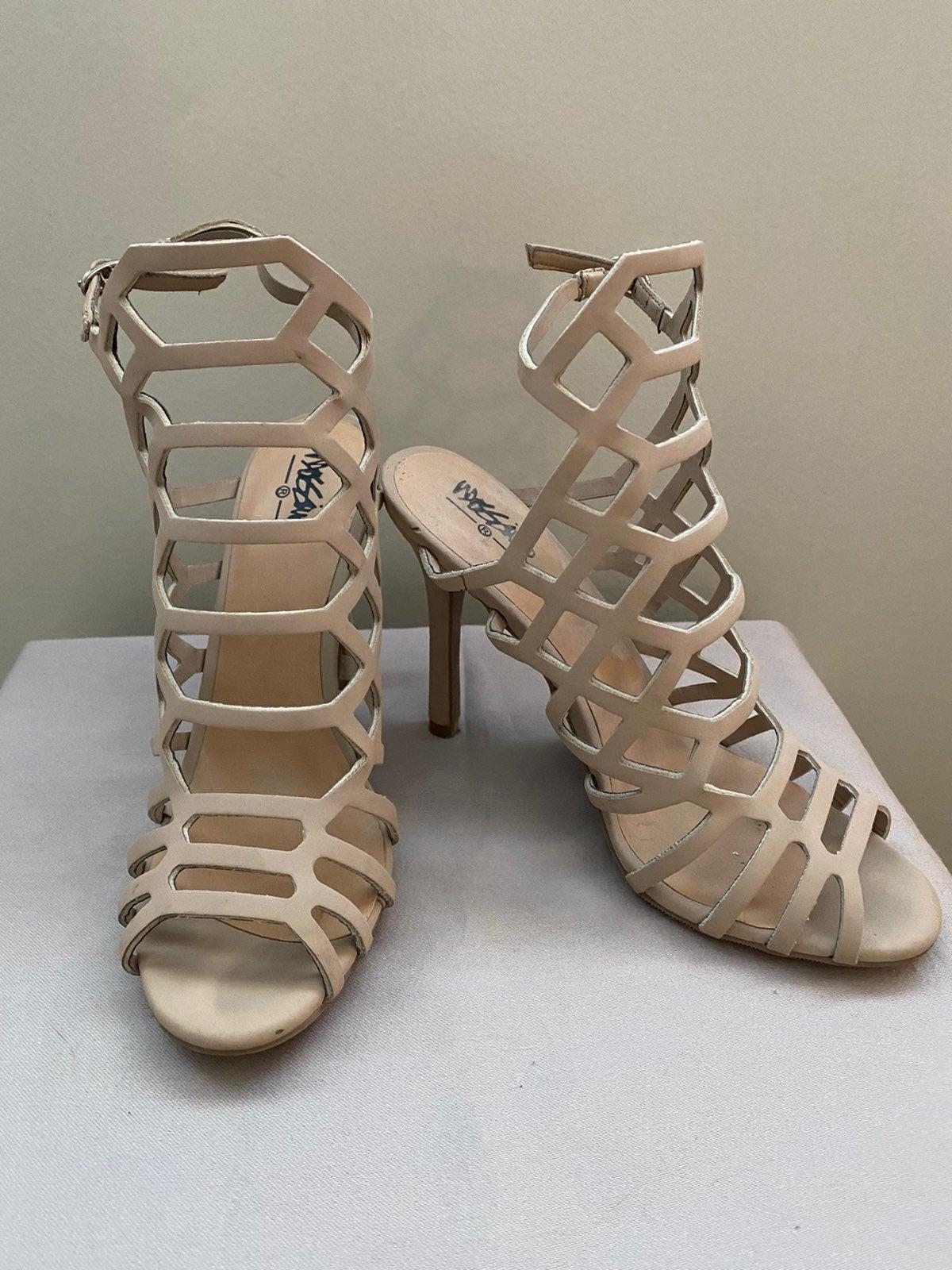 Beige cage heels