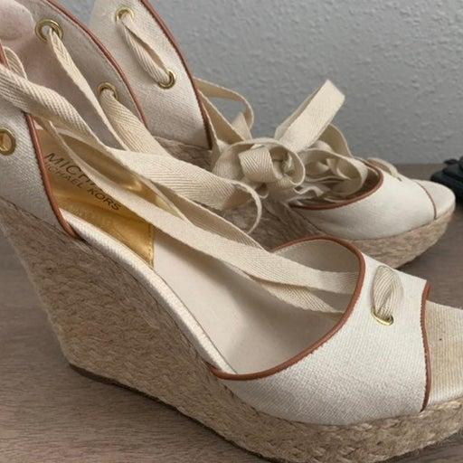 Michael Kors Ankle Wrap Wedge Sandals SZ 9