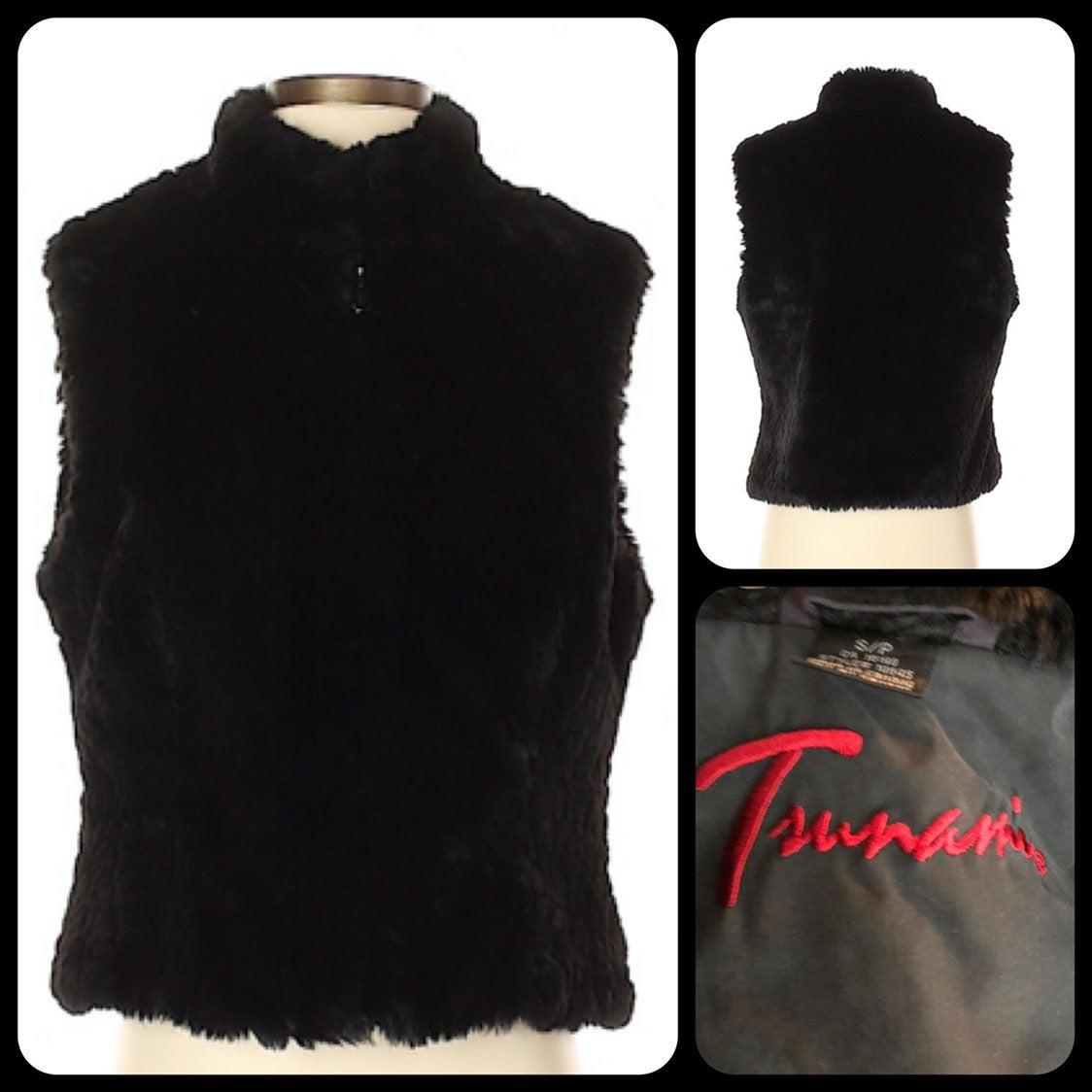 Tsunami Black Faux Fur Vest Jacket S