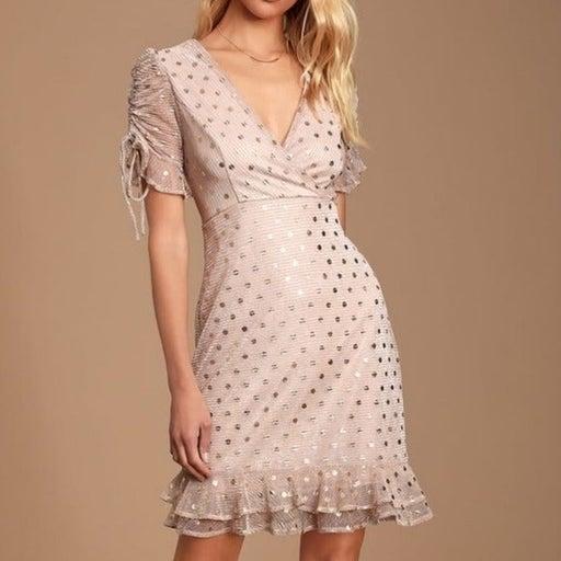 Lulus Top Model Light Pink and Gold Polka Dot Ruffled Dress