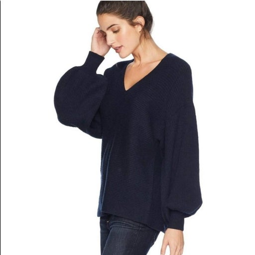 1.State V-Neck Bubble Sleeve cozy cotton-blend knit Pullover SWEATER, Blue Nigh