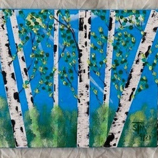 """Canvas Textured Painting: """"Daytime in the Birch Forest"""""""