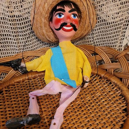 Vintage marionette gun shooter Mexico
