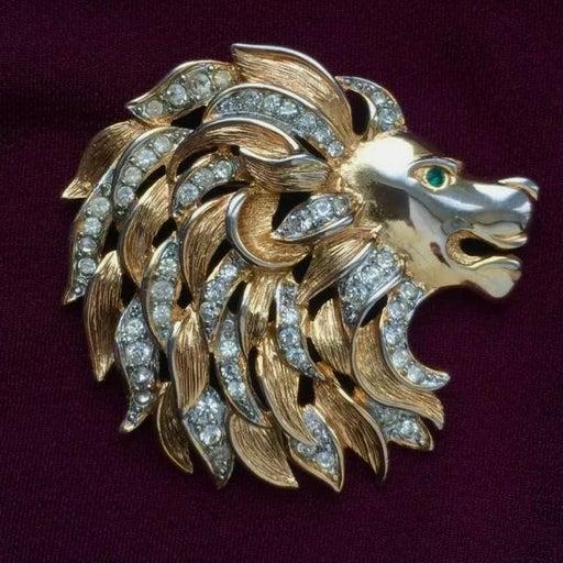 VINTAGE SIGNED CRAFT LION BROOCH PIN