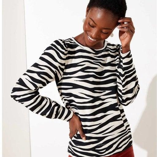 Ann Taylor Loft Cotton Zebra Long Sleeve